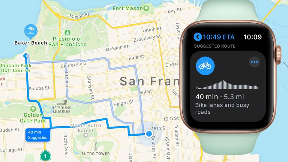 How cycle routes will appear on Apple watch
