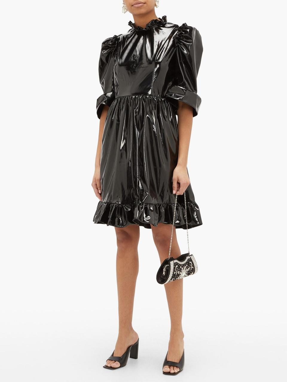 Spring ruffled PVC mini dress