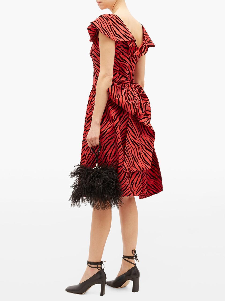 Flocked zebra-print satin dress