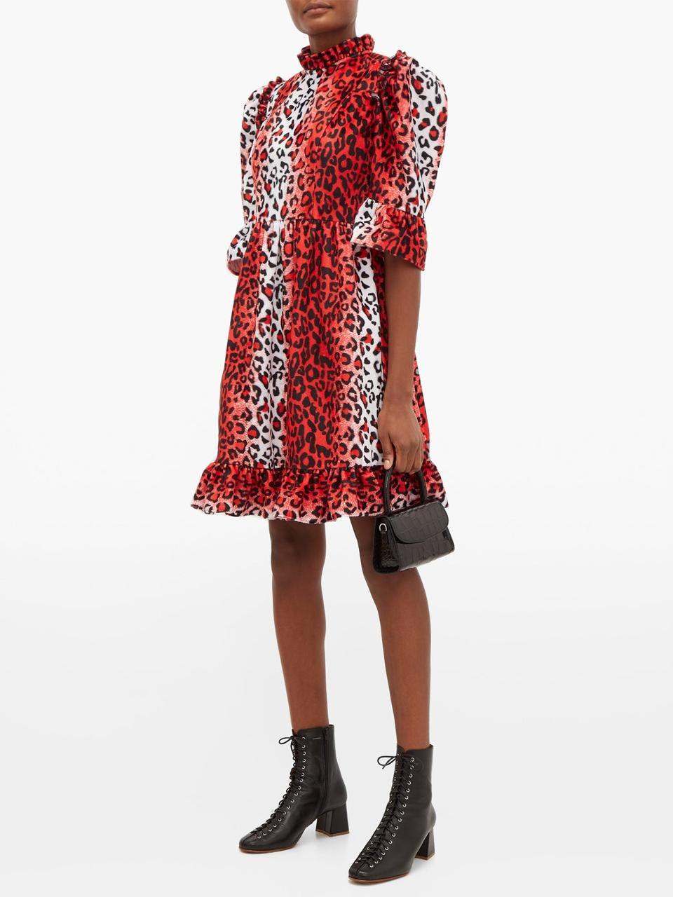Ruffled leopard-print velvet dress