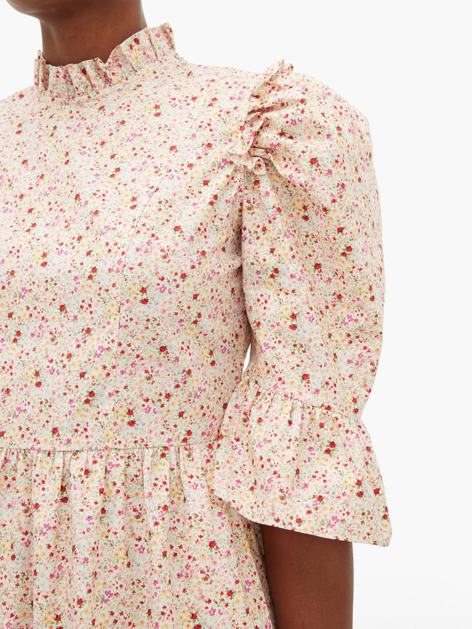 Puff-sleeved floral-print cotton mini dress