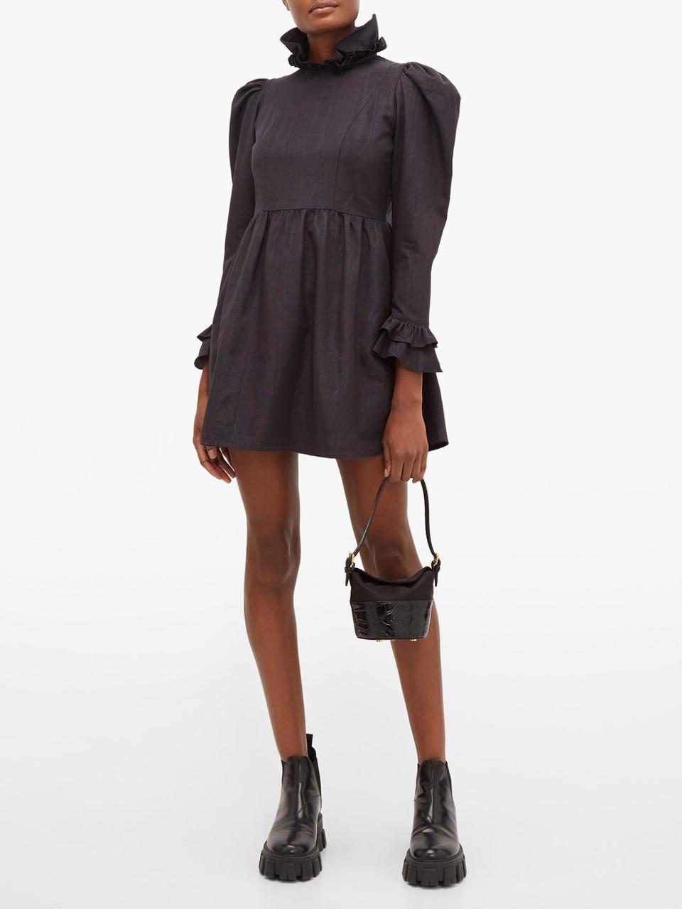 High-neck ruffled puff-sleeved mini dress