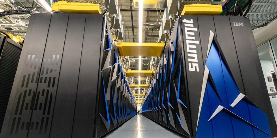IBM Summit Supercomputer racks in a data center