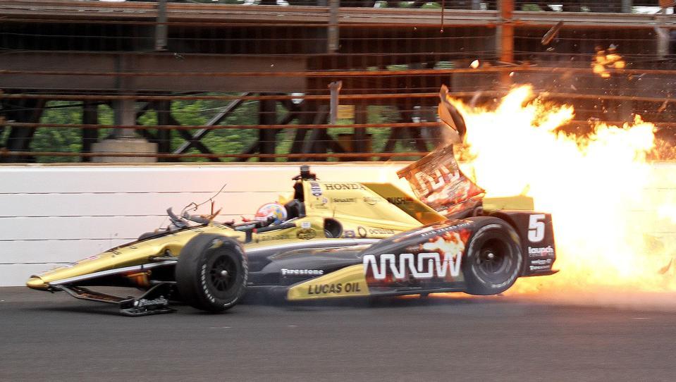 Indy 500 race car on fire