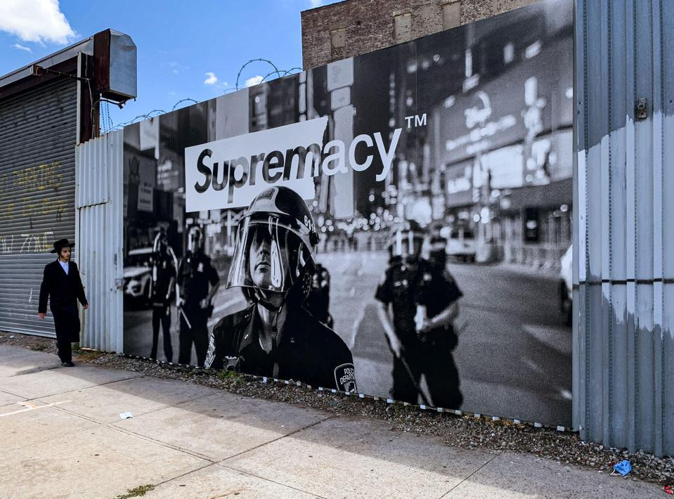 Brooklyn, New York – First installation in street brand campaign SUPREMACY: WHO PROTECTS ME FROM YOU?