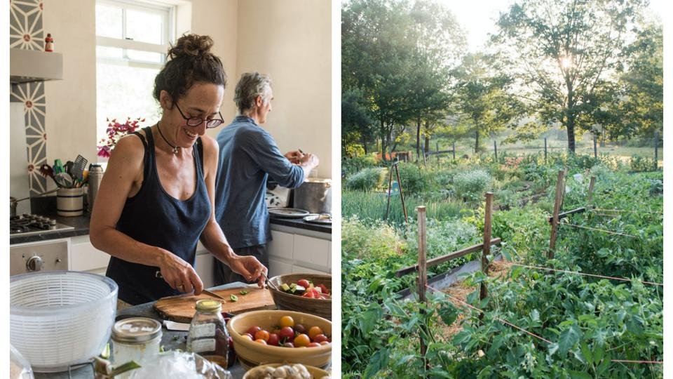 Left, Erica and Alain cooking in their kitchen, are the owners of a non-profit farm.