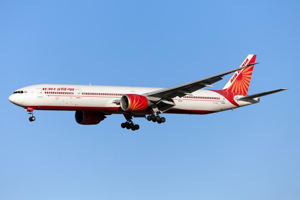 An Air India Boeing 777-300ER lands at London Heathrow...