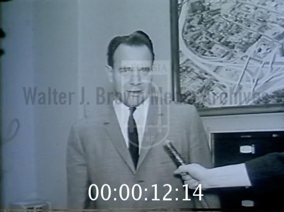 Screengrab from newsclip of Moreton Rolleston commenting on the result of the 1964 Supreme Court decision.