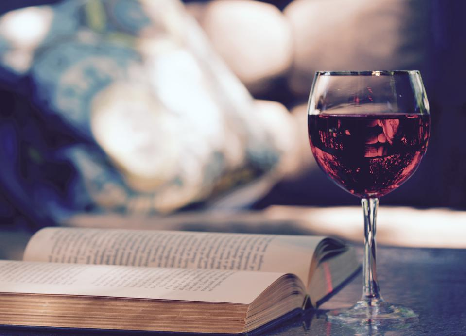 Outdoors with Wine and a book