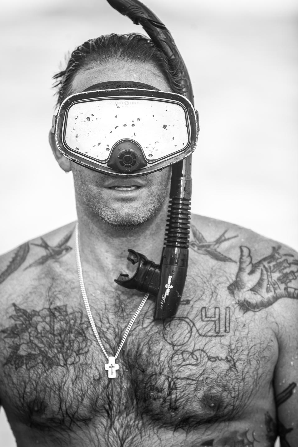 A portrait of the underwater photographer, Chris Leidy.