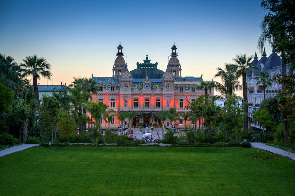 A view of the Casino in Monaco at dusk