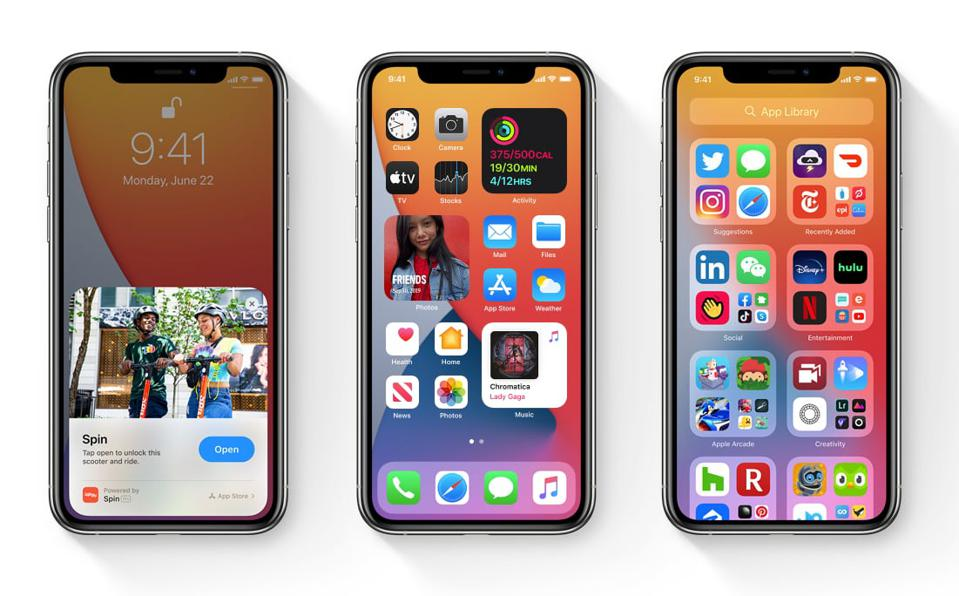 Screenshot of Apple's new iOS 14 mobile operating system capabilities.