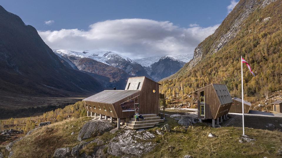 The pentagonal tourist cabins of Tungestølen in western Norway.