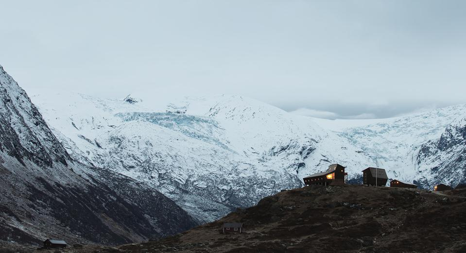 The Jostedal cabin with the Jostedalen glacier behind.