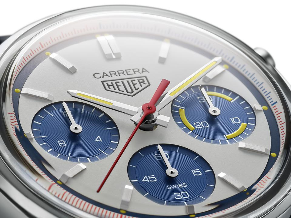 The Tag Heuer Carrera 160 Years Montreal Limited Edition has a blue and white opaline dial