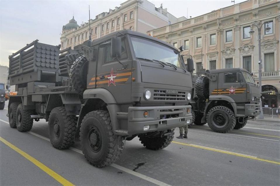 Truck mounted rocket launcher