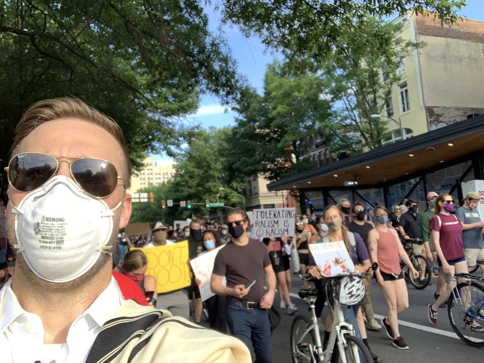 Rabbi Michael Knopf protesting in Richmond, Virginia for Black Lives Matter movement.