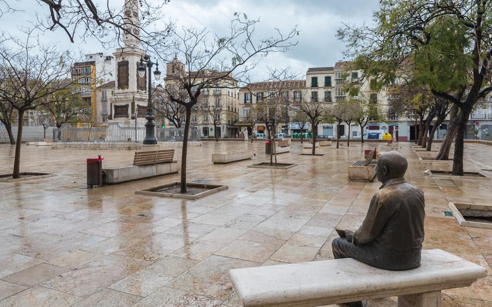 Statue of Pablo Picasso at the Plaza de la Merced, close to the artist's birthplace in Malaga, Spain during the pandemic