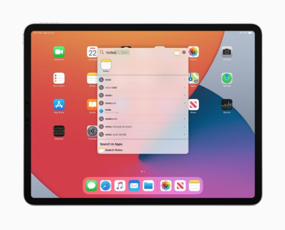 iPadOS includes a new search tool that searches every database, including apps, the internet, and even inside apps