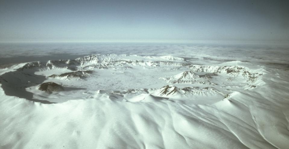 Aerial view looking across Okmok Caldera, Alaska.