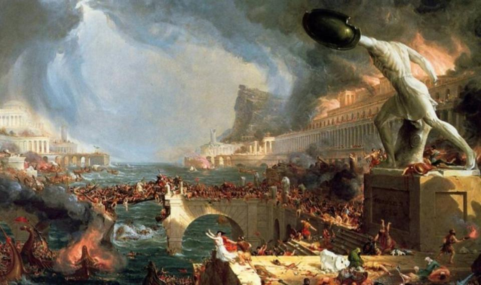 """""""Destruction"""", 1836 painting by the English painter Thomas Cole, depicting the fall of the Roman Empire."""
