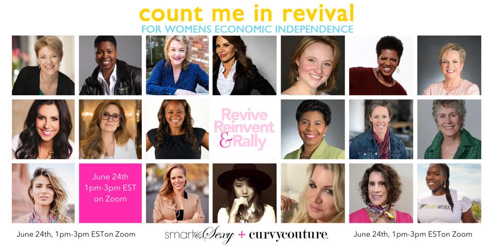 A tapestry of headshots of women speakers for the Count Me In Revival rally.