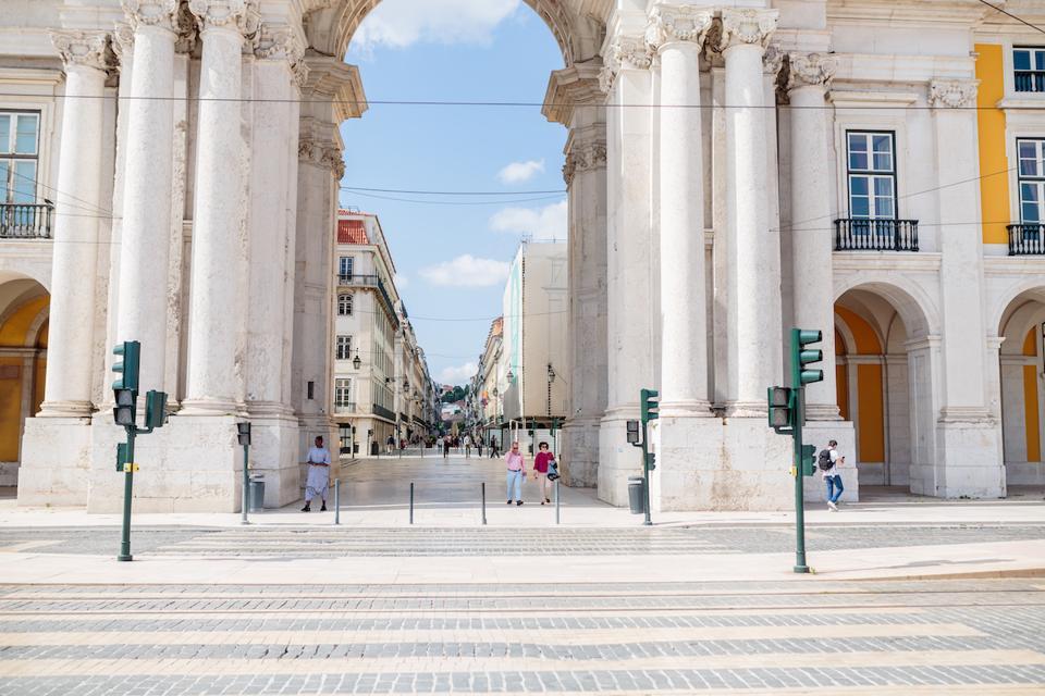 Praça do Comércio square in Lisbon, Portugal during the pandemic