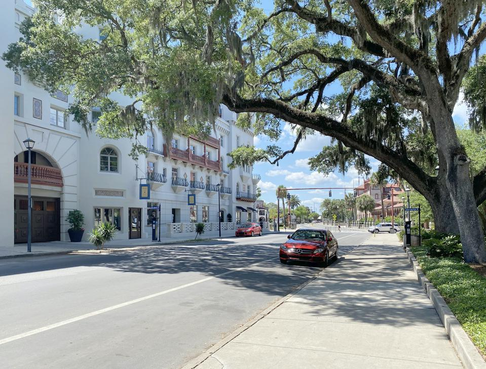 King Street in St. Augustine Florida during the pandemic. It is usually filled with traffic, including sightseeing trains and trolleys, and dozens of pedestrians