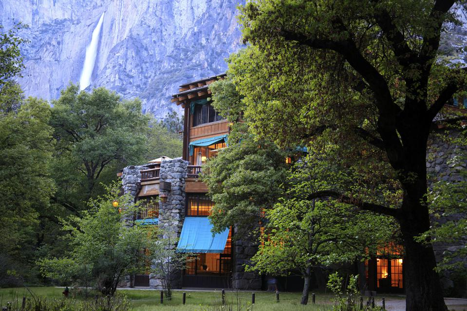 The Ahwahnee Hotel Exterior with Yosemite in the background