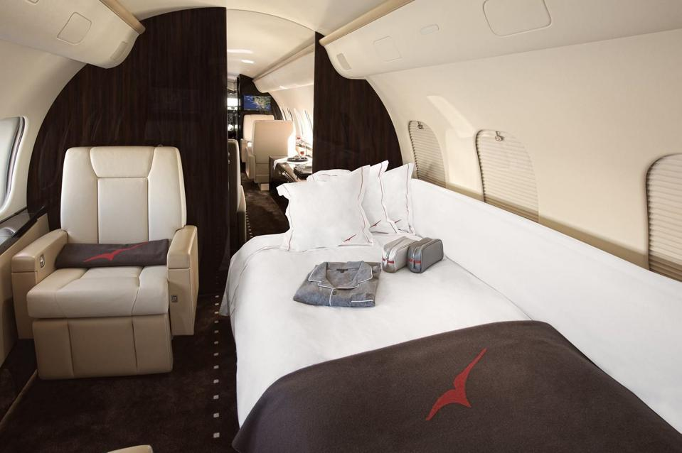 Conservation Africa News - A bed made up on a private jet
