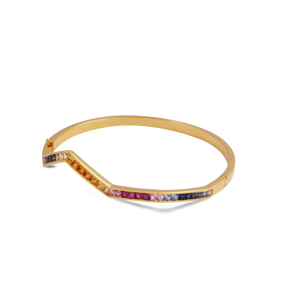 Origami Ziggy bangle, 18kt gold and colored sapphires, by Kavant & Sharart.