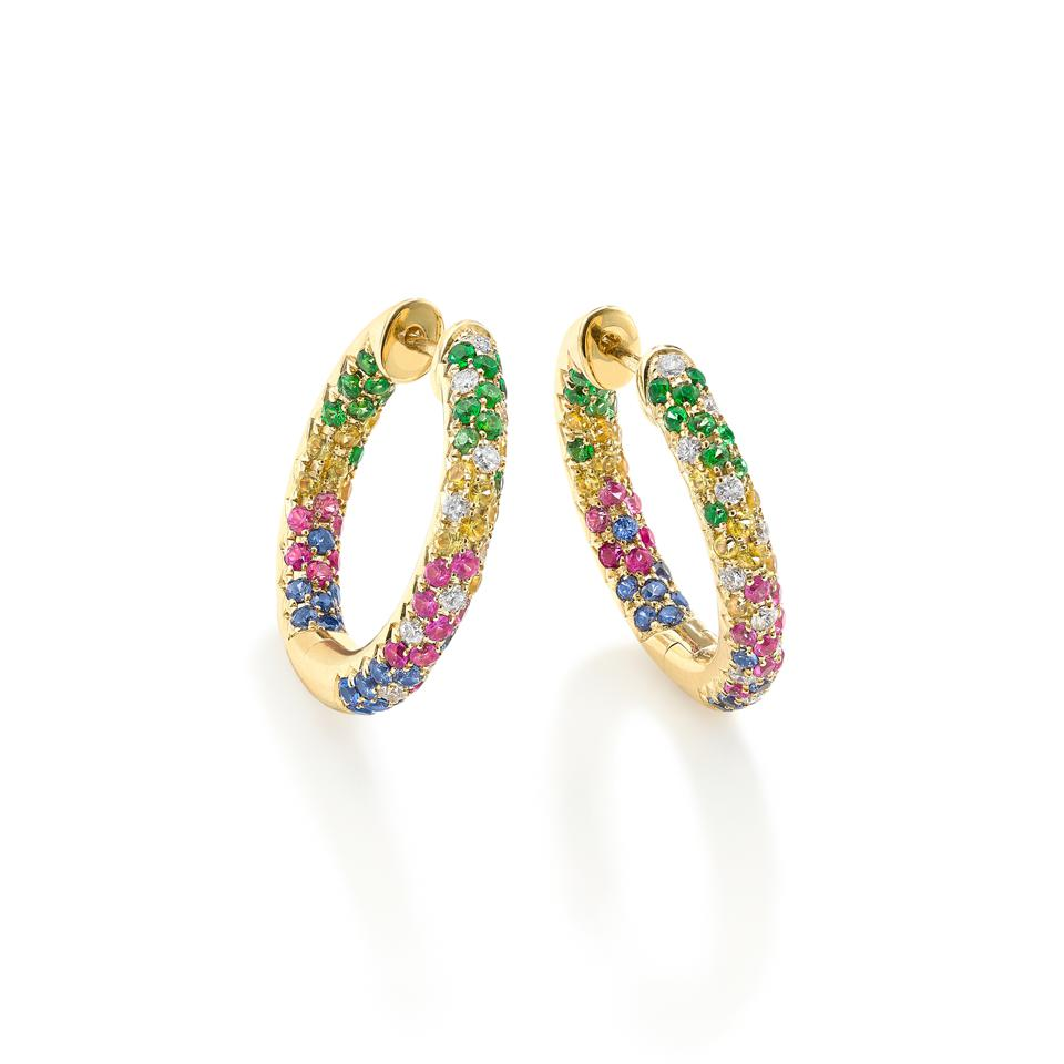Rainbow Disco Sister earrings by Robinson Pelham, 14K yellow gold with rainbow sapphires, tsavorites and diamonds  $6,110