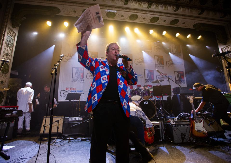 WXRT disc jockey Lin Brehmer on stage at Metro as emcee of the Hot Stove Cool Music benefit concert. Friday, June 8, 2019 in Chicago, IL (Photo by Barry Brecheisen)