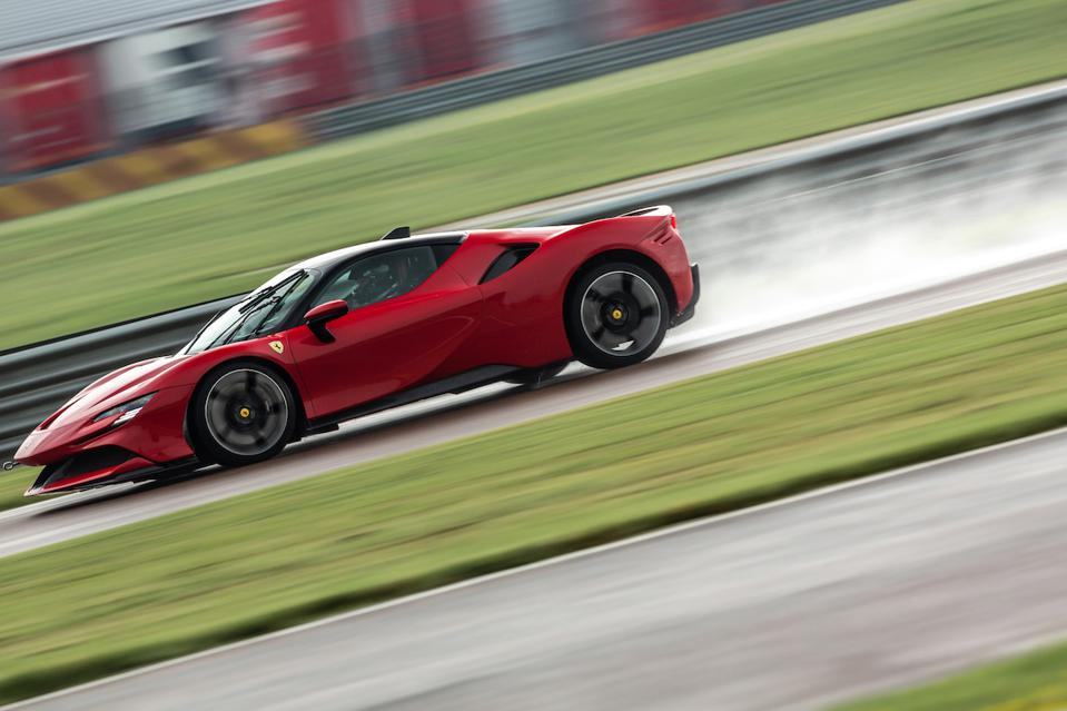 On-demand all-wheel drive gives the Ferrari SF90 Stradale stunning wet-weather abilities.