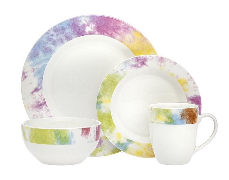 Godinger Prism Tie Dye 16 Piece Dinnerware Set