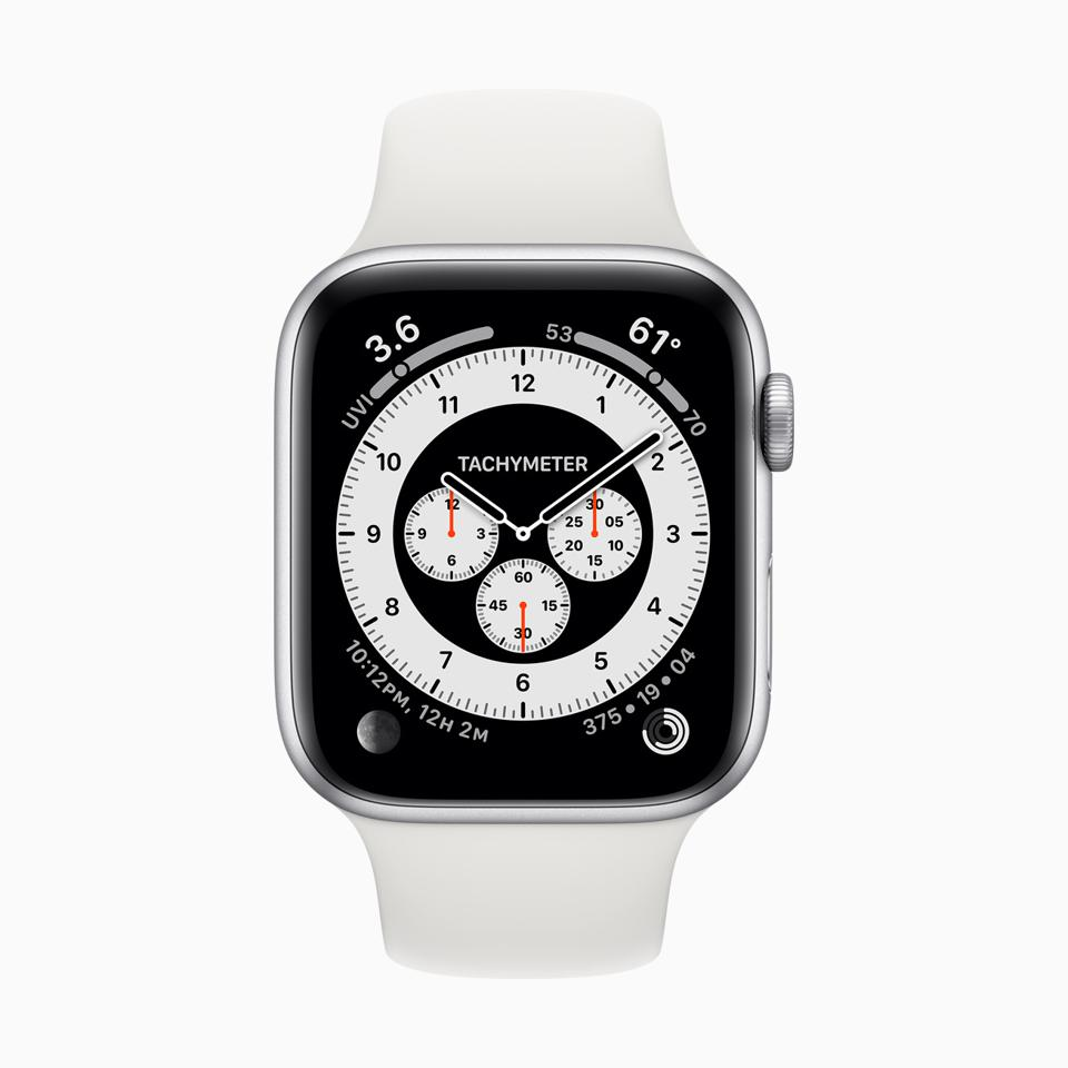 The new Chronograph Apple Watch face.
