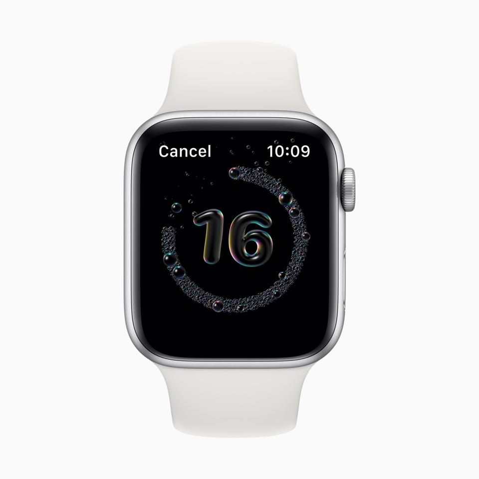 The handwashing app on Apple Watch