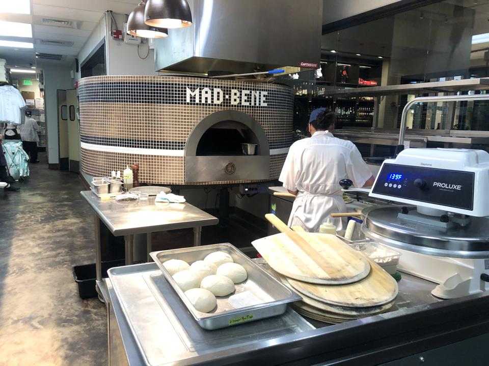 Pizza station at Mad Bene on Oahu.