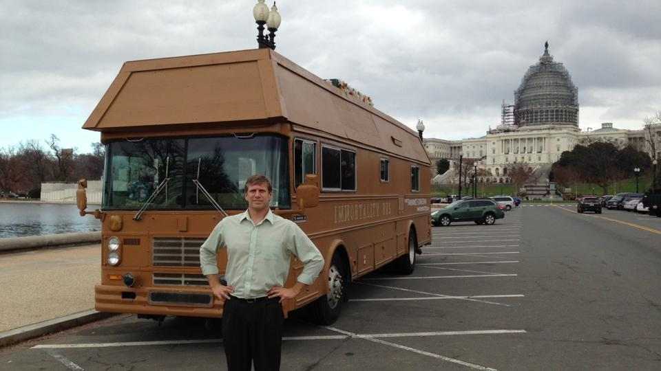 Zoltan Istvan in front of the motorhome he drove from San Francisco to Washington DC on his Presidential Election tour