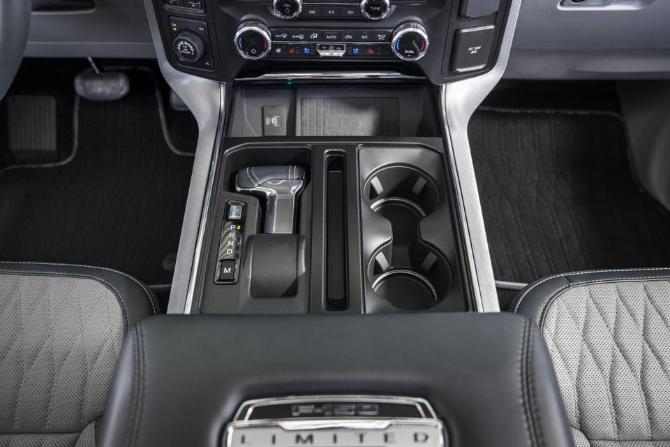 2021 Ford F-150 shift lever folds down to accommodate a flat work surface