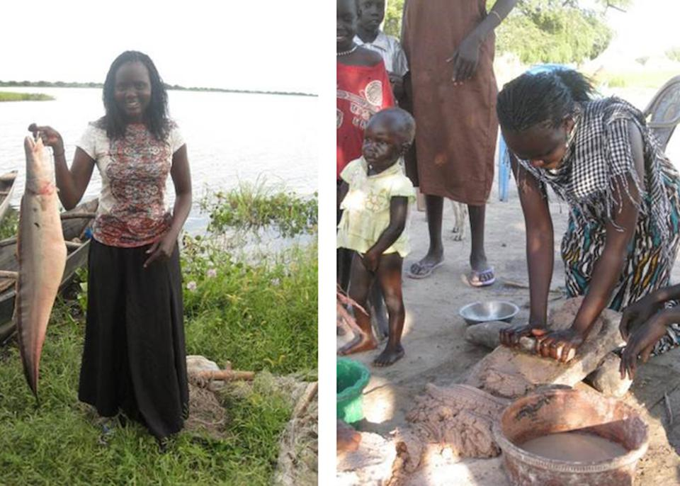 Catching a fish, grinding sorghum: In 2009, Rebecca Deng returned to South Sudan, where she was born, for the first time in nearly a decade.