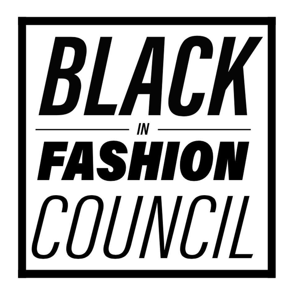 a logo reading black in fashion council