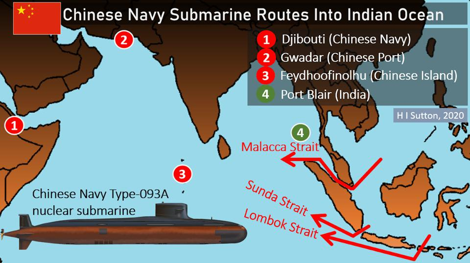 Chinese Navy submarine routes into Indian Ocean.