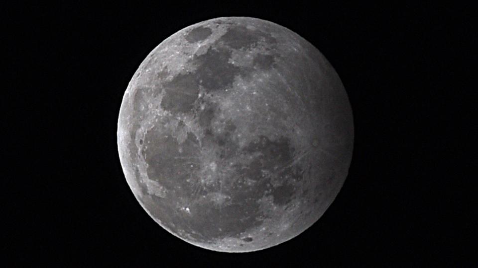 A penumbral lunar eclipse on January 10, 2020 as seen from India—one of the four penumbral lunar eclipses in 2020.