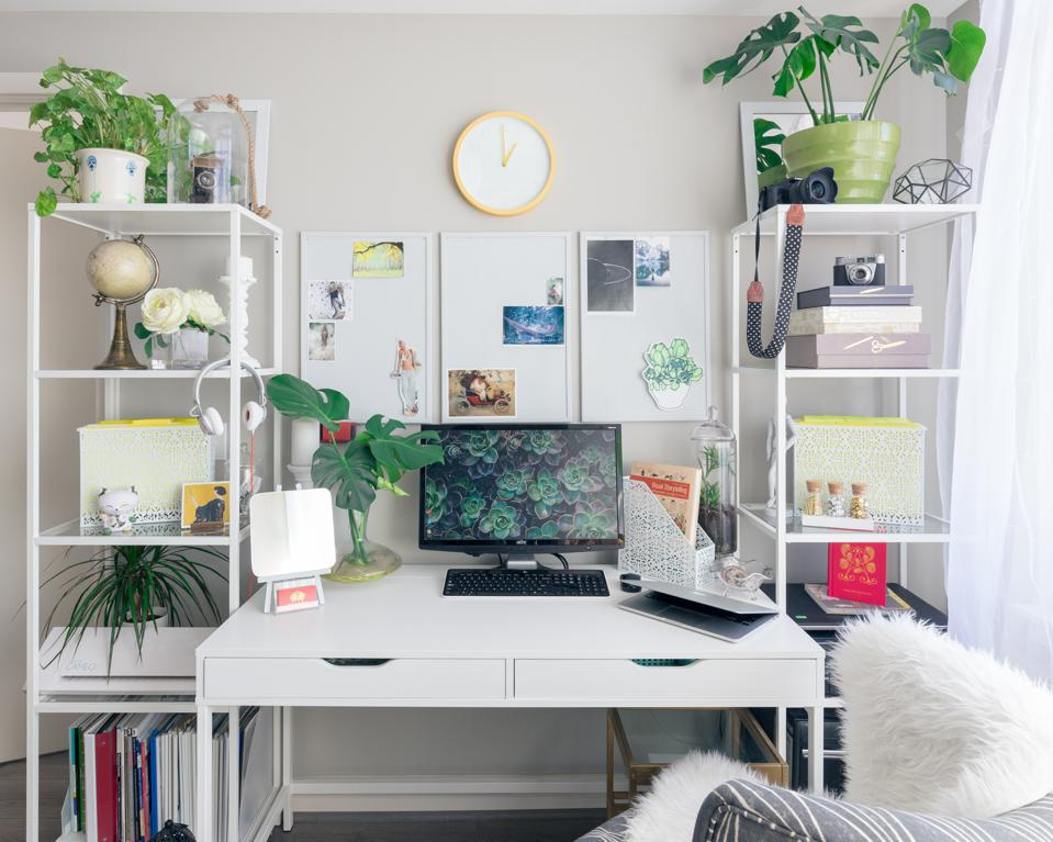 Home workspace with plants