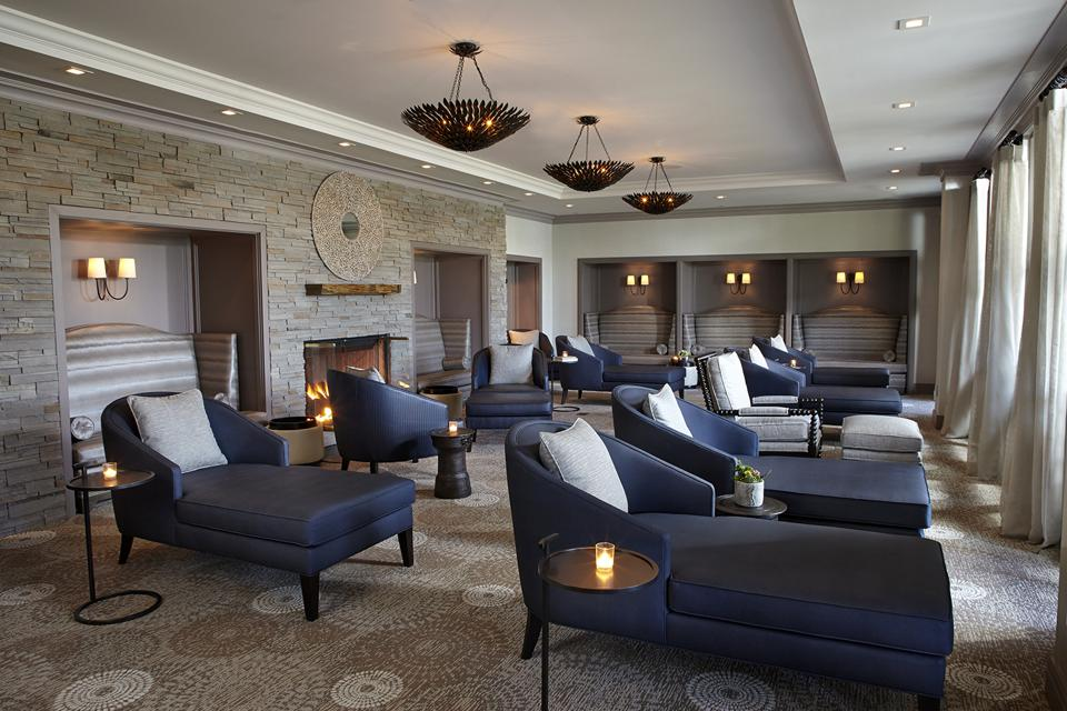The luxurious lounge at the Lodge at Woodloch.