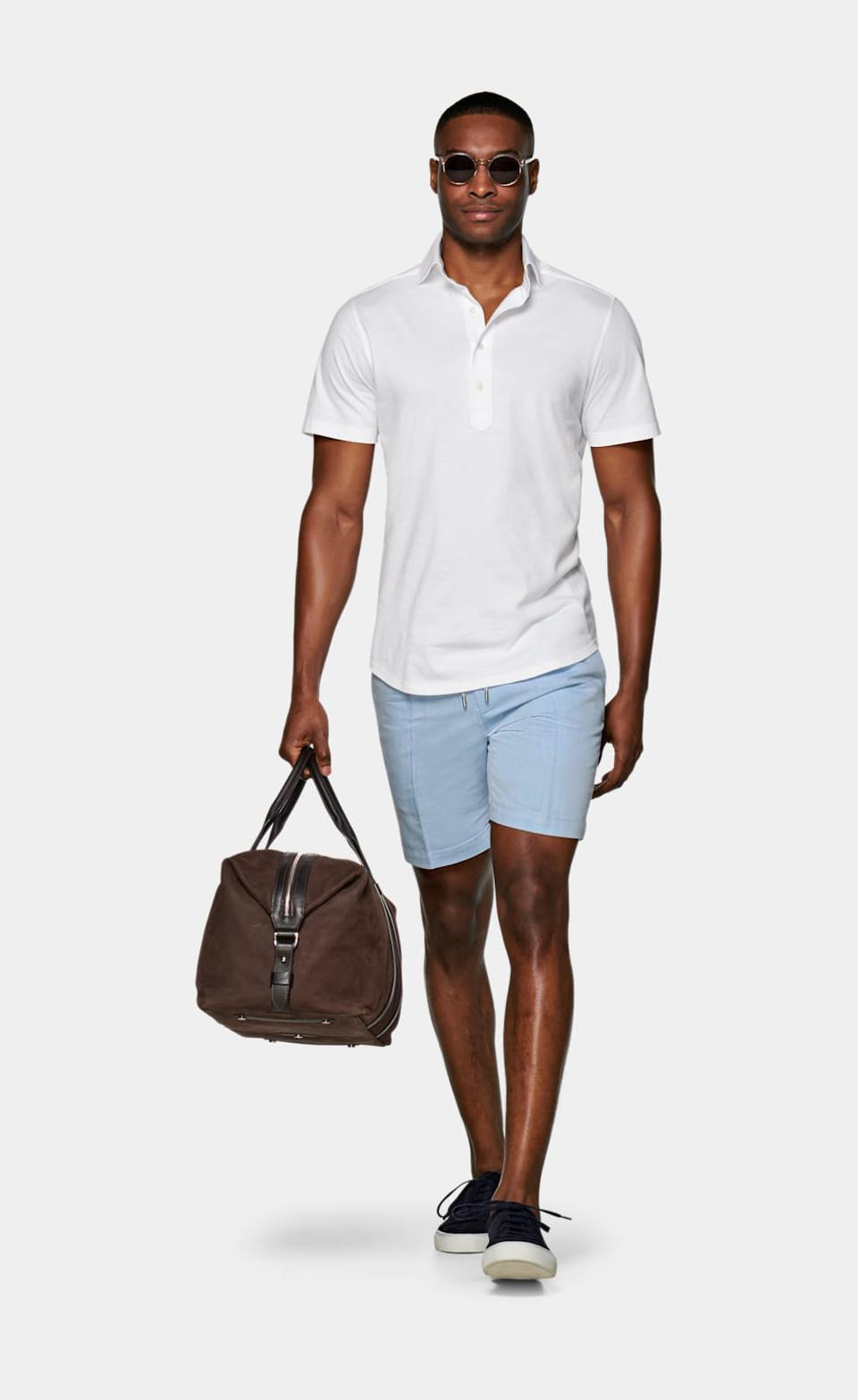 Suitsupply White Knitted Short Sleeve Popover