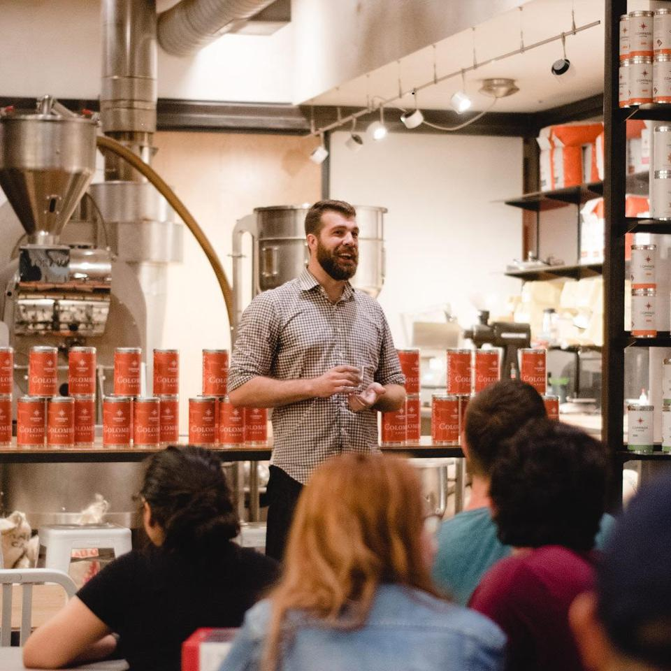 Cullen Gilchrist giving talk at Union Kitchen