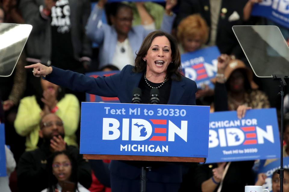 Sen. Kamala Harris Joined Candidate Joe Biden At Michigan Campaign Rally On Eve Of Primary