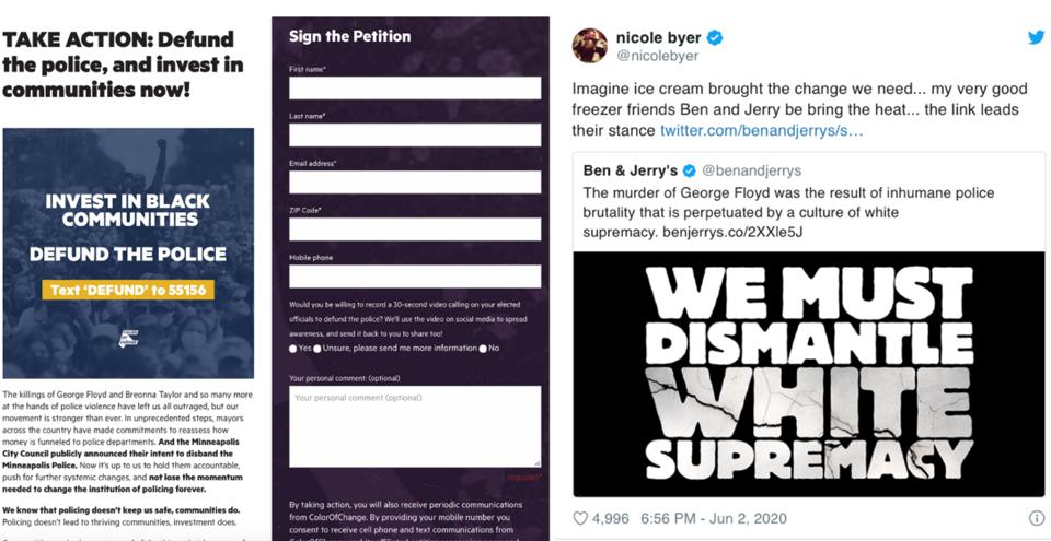 Take Action Petition On Site & Bold Messaging https://www.benjerry.com/values